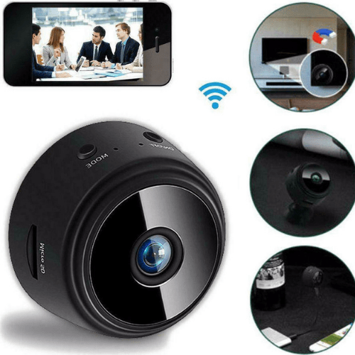 1080P WIFI Wireless Camera HD Car DVR Infrared Night Vision Camera with APP Control for Children Home Security Black PS-103176
